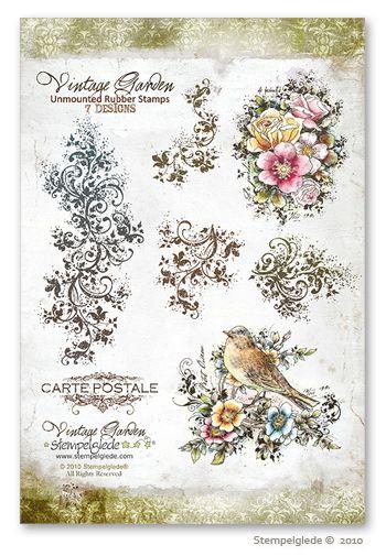 © Stempelglede® Vintage Garden. Unmounted Rubber Stamp Sheet.   http://www.stempelglede.com/stemplervintagegarden_en.html