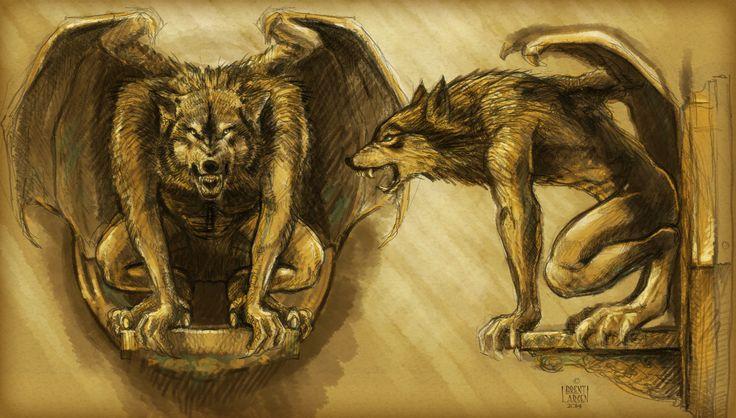 Concept sketch of new werewolf gargoyle for Fergburger's new bizz- Mrs.Ferg