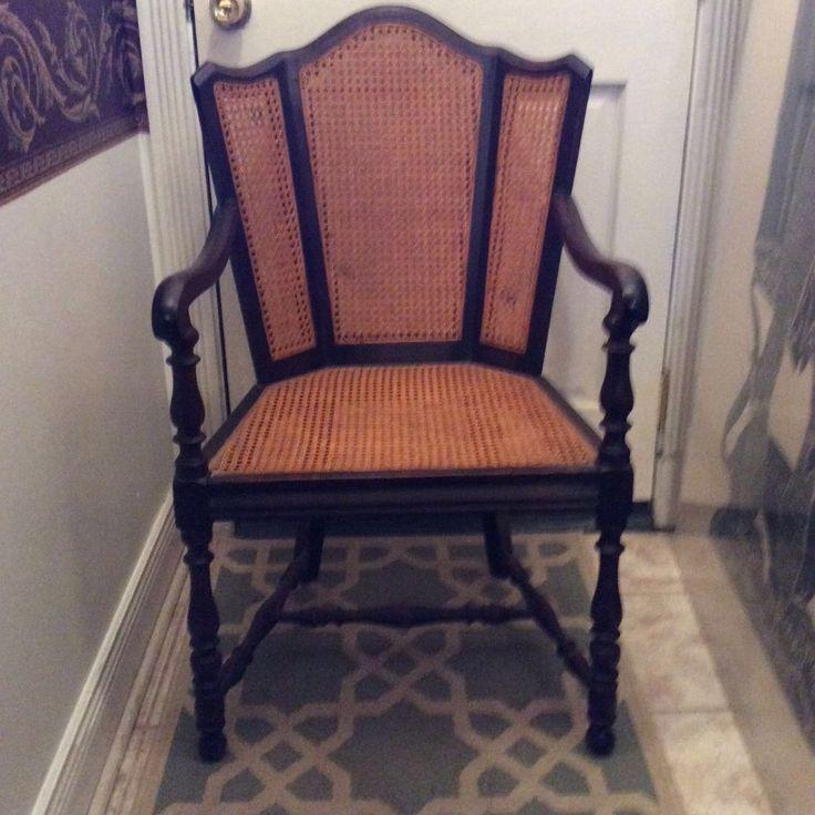 Best Antique Tudor Revival Cane Wing Arm Chair 1920 S 1930 S 400 x 300