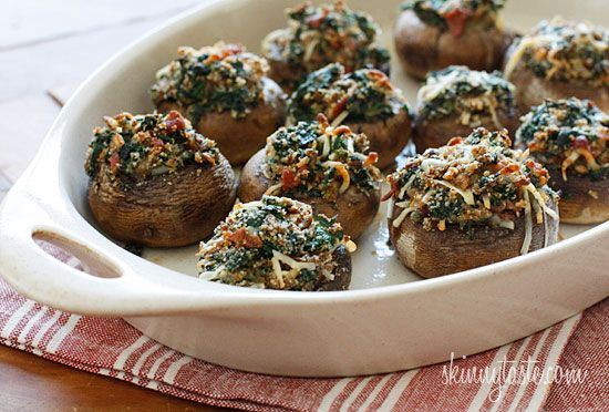 Spinach and bacon-stuffed mushrooms (can substitute feta cheese for bacon, to make it vegetarian).