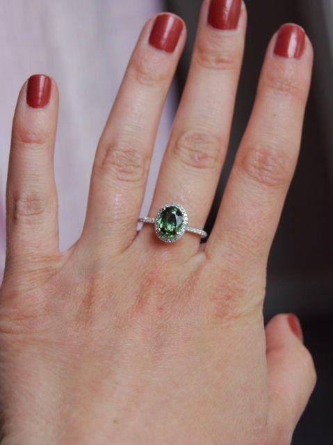 Sale  Forest Green Sapphire Diamond Ring 14k by EidelPrecious, $800.00