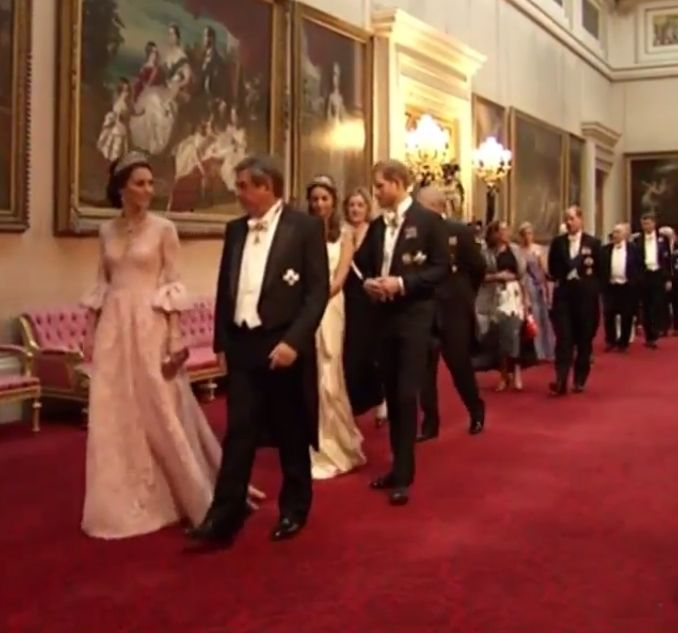 Duchess Kate: The Duchess Sparkles in the Cambridge Lovers Knot Tiara, Dazzling Jewels & A Marchesa Gown for State Banquet!