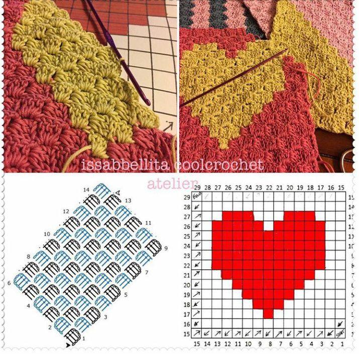 107 mejores im genes sobre ganchillo corazones y - Esquema punto estrella crochet ...