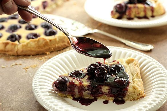 Bing Cherry Pizza Dolce Crostata with Port Cherry Sauce