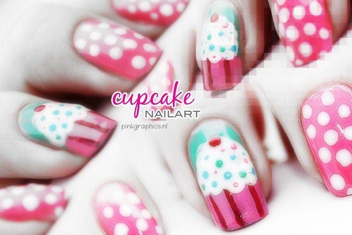 Nails - Nail art - Nailart - Pink - Polka Dots - Cupcake Nail Art - Green - Beautiful - Nail Polish - Cute Nail Art - Nagels - Nagellak - PinkGraphics.nl - Silvy