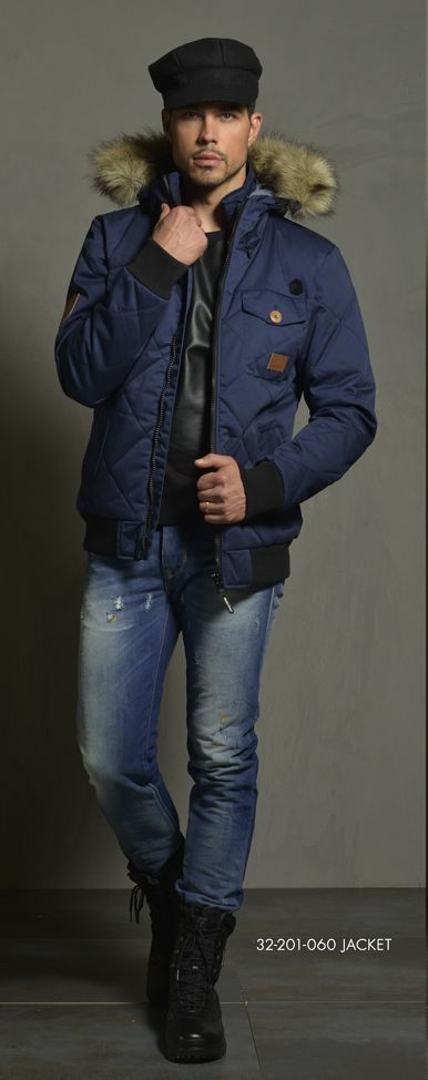 Men's jacket with hood & fake fur around hood. www.biston.gr