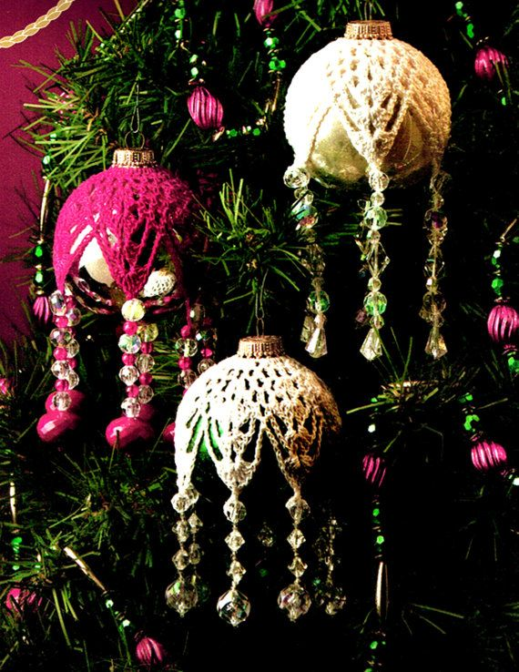 CHRISTMAS 'Victorian' Snowflake Beaded Baubles Crochet Pattern, Pineapple, Lace, Heirloom, Traditional, Upcycling, Decoration, Festive, PDF