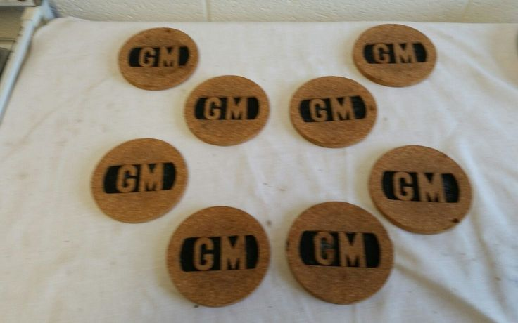 Set Of 8 General Motors Cork Coasters