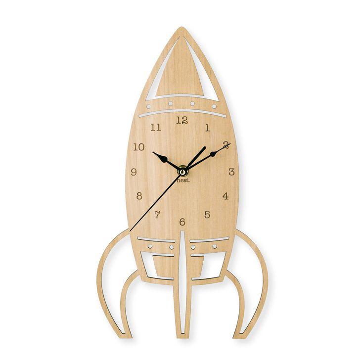 Rocket Wooden Wall Clock | Nursery & Kids Decor by NestAccessories on Etsy https://www.etsy.com/listing/186884231/rocket-wooden-wall-clock-nursery-kids