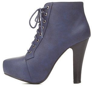 High Heel Lace-Up Platform Booties, Your favorite ankle boot just got a chic, burnished upgrade from fab faux leather! Rounded toe leads into a lace-up placket with thick shoestrings and pewter grommets, while a hidden platform and chunky heel raise your style standards below. Style: PUFFIN 06
