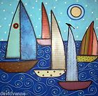 Summer Sailboats ACEO CANVAS Giclee Print Karla Gerard