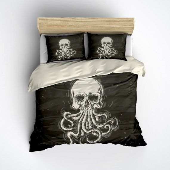 Hey, I found this really awesome Etsy listing at https://www.etsy.com/listing/246184938/featherweight-octopus-skull-bedding