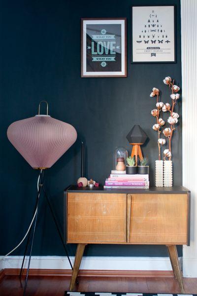 Tiny sideboard in my living room. #vintage #midcentury #darkwall   www.craftifair.com