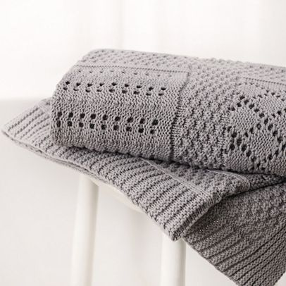 Grey Knitted Blanket - The White Company £34