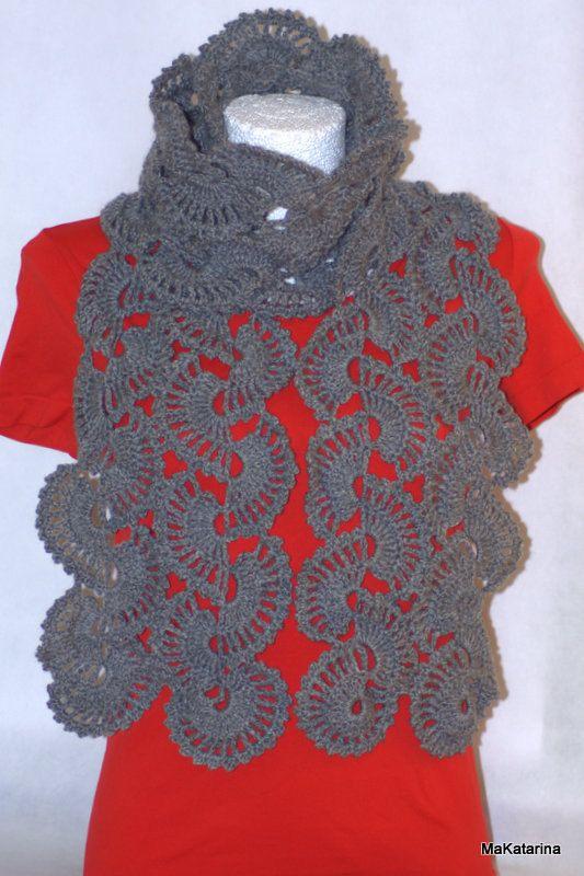 Crochet grey scarf crochet neckwarmer crochet shawl by MaKatarina