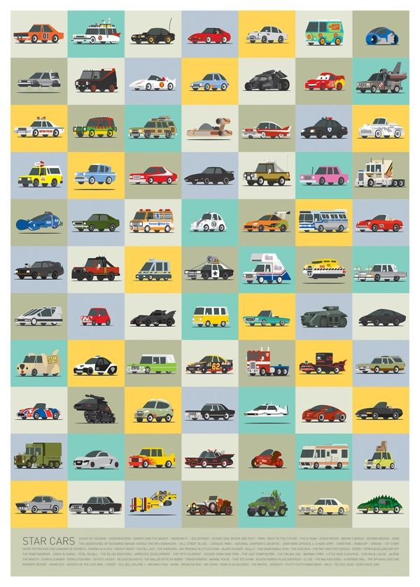 Best Vehicles Movies Images On Pinterest Cars Movies And - Famous movie cars beautifully illustrated