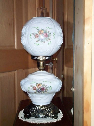 Vintage White Milk Glass Puffy Roses GWTW Hurricane Parlor Table Lamp Ball  Shade..ebay
