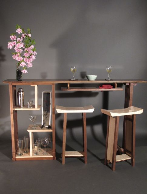 Solid Wood Bar With Bar Cabinet Walnut Bar Open Display