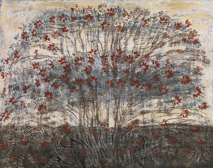 """Merab Abramishvili (Georgia 1957-2006) Dog Rose (2001) tempera, gesso and egg emulsion on plywood 75 x 95 cm """
