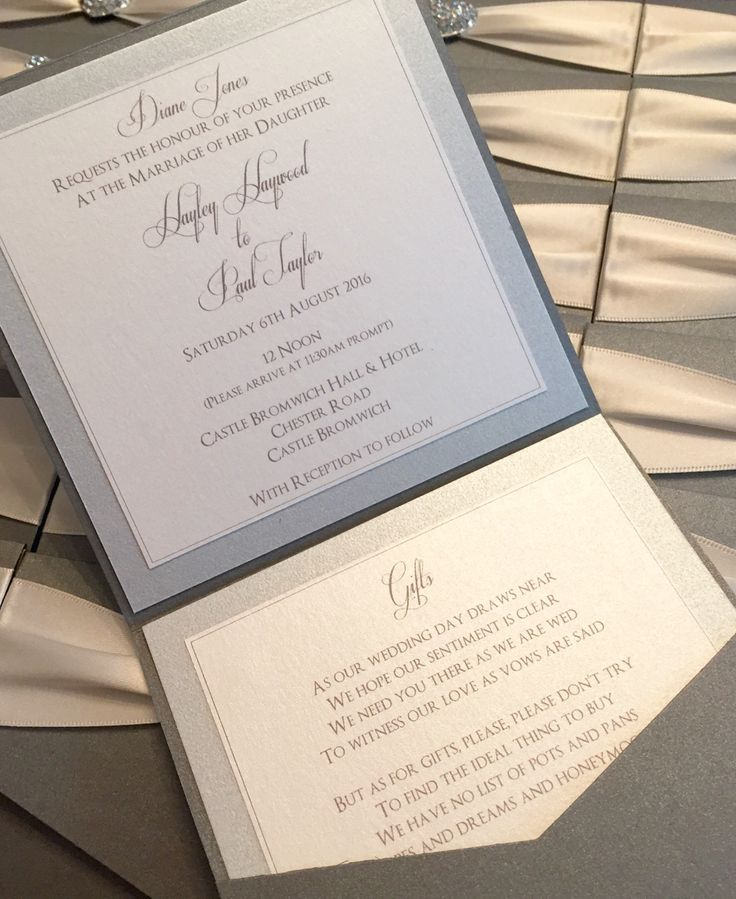 Pocketfold Invitations in Platinum Grey & Silver complete with Diamanté Heart Brooch
