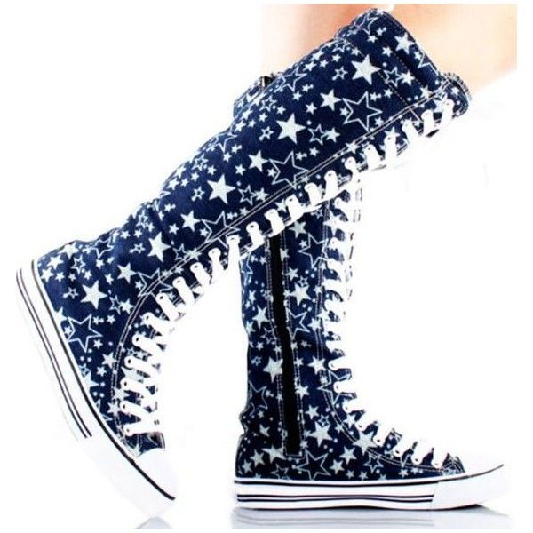 Converse Knee High Boots ❤ liked on Polyvore featuring shoes, boots, pattern boots, knee length boots, converse knee high boots, summer boots and knee boots