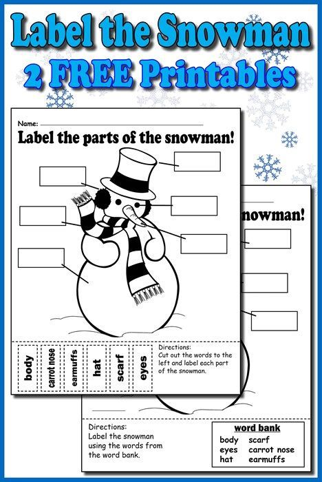"""""""Label the Snowman"""" Worksheets (2 FREE Printable Versions)!"""