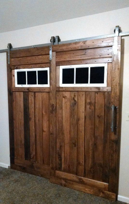 Bypass sliding barn door hardware kit with track system for Ikea barn door hardware