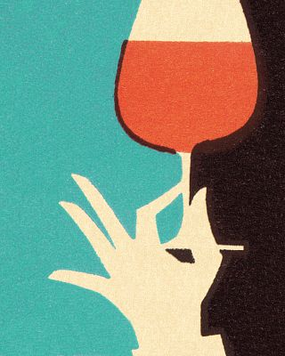 Illustration / Hand Holding Glass of Wine