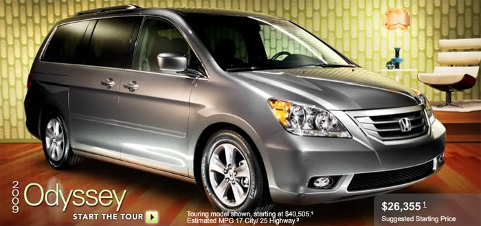 2010 Honda Odyssey Touring  3.5L V6 engine   Automatic transmission   17 city/25 hwy mpg   Maximum towing capacity 3500 lbs.  Cargo capacity with all seats in place 38.4 cu.ft.  Maximum cargo capacity 147.4 cu.ft.  Navigation System   Bluetooth   MP3 Player   Satellite radio   Side/Curtain Airbags   Stability Control   Third row seats   Traction Control   DVD entrainment system  Heated leather seats  4 -way power passenger seat  8 -way power driver seat with manual adjustable lumbar support