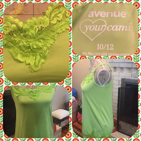 Bright Green Cami with Lace & Adjustable straps Bright green camisole with lace v neck and lace at the bottom and adjustable straps.  From the Avenue.  Size 10/12.  No trades.  Will price drop if you use the offer option. Avenue Tops Camisoles