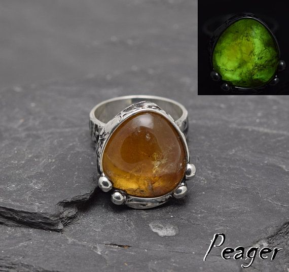 Ring with CitrineGlow in the dark ringStatement ringOoak