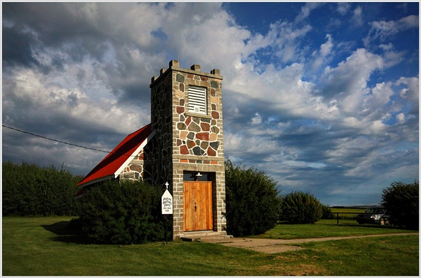 PARADISE HILL | Fieldstones and Stormy Skies | Fieldstone Anglican Church near Paradise Hill, Saskatchewan