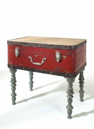 Tavolo valigia, metallo, 57x53x37 cm rosso/grigio/beige