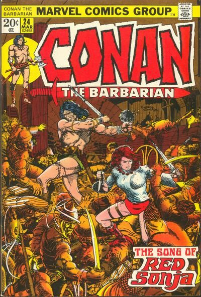 "1973 Shazam Award, Best Individual Story: ""Song of Red Sonja"", by Roy Thomas & Barry Smith, Conan the Barbarian #24 (Marvel)  Cover for Conan the Barbarian (Marvel, 1970 series) #24"