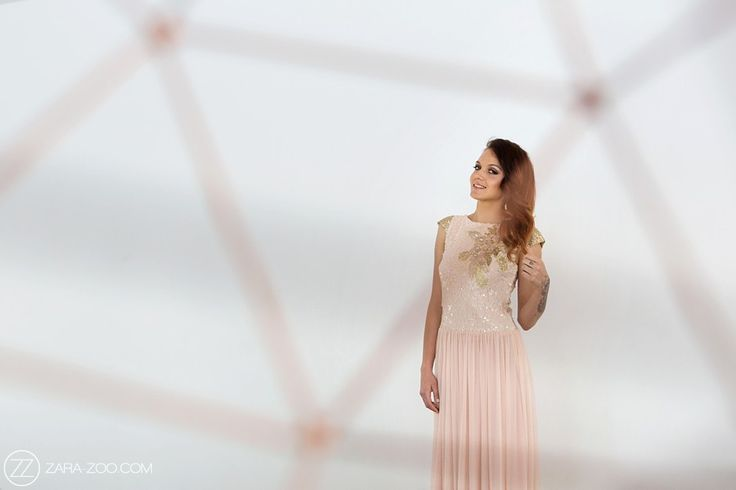 Blush Pink and Gold sequenced Wedding Dress by Alana van Heerden.
