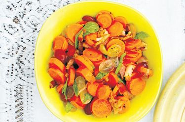Roast carrots with Beehive Craft Series by Peter Gordon bacon lardons, grapes and mint