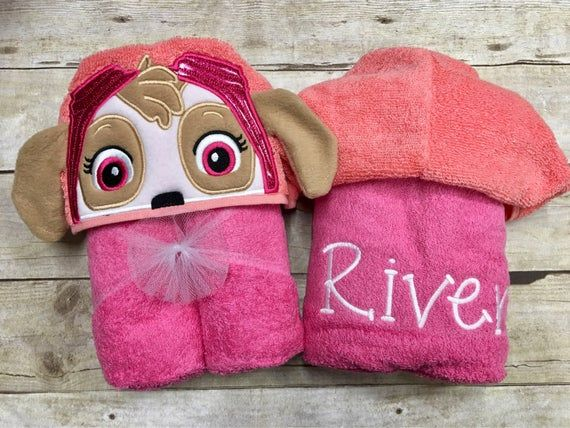 Personalized Sky Pup Hooded Towel Helicopter Pup Hooded Towel