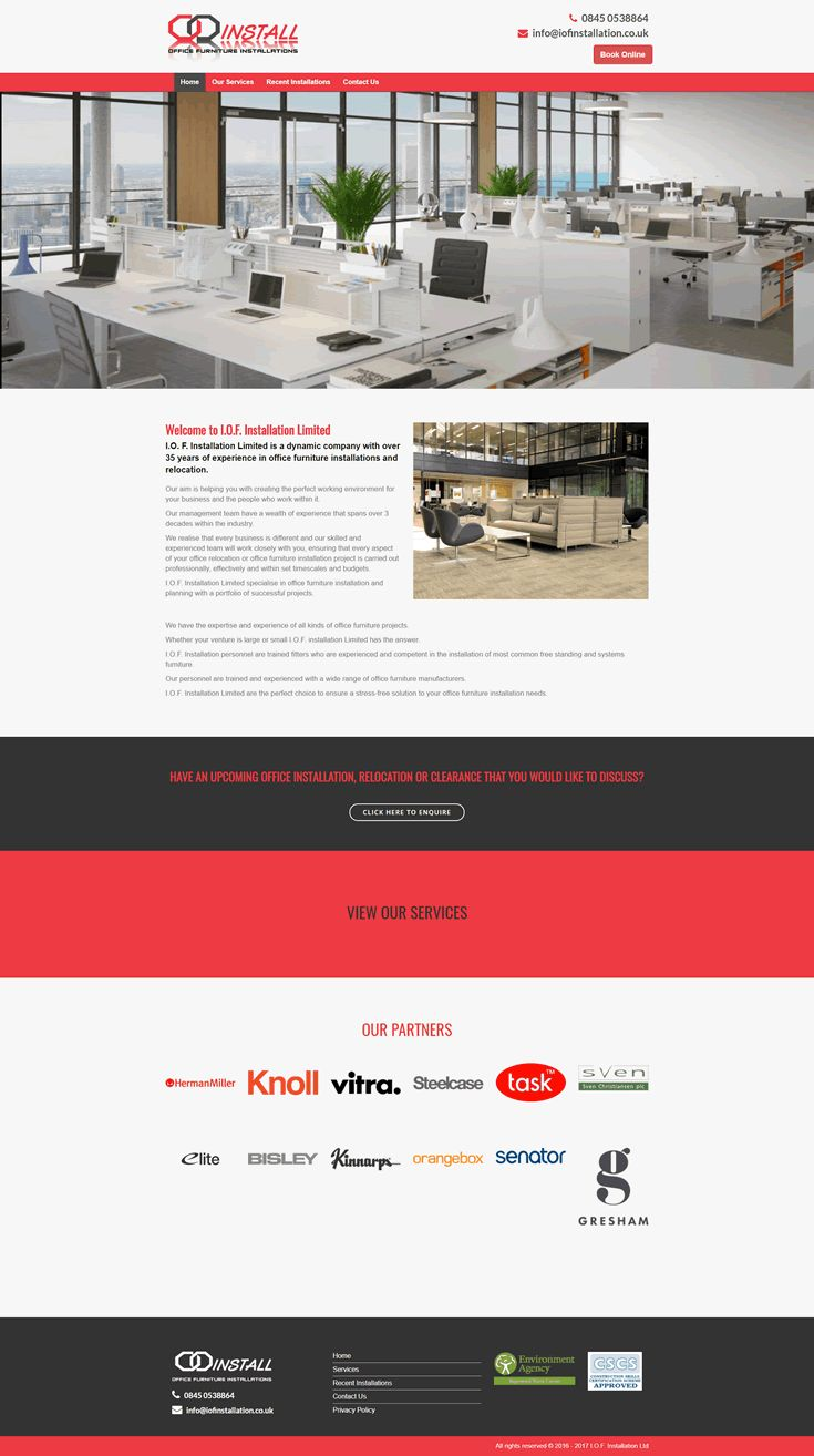 Website created for IOF Installation an office furniture delivery and assembly company.