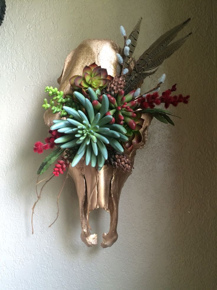 Custom made cow skull floral arrangement