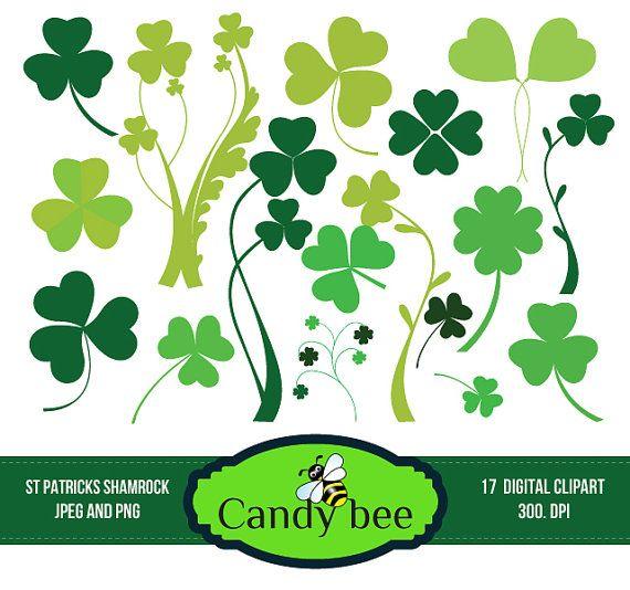 Shamrock Clipart St.Patrick's day clipart, Saint Patricks Day Clip Art,  Digital Clip Art for Scrapbooking Invitations SAJ-229 on Etsy, $5.00