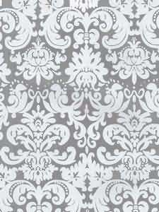 White Damask On Silver Metallic Wallpaper