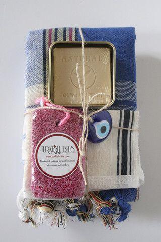 Turkish Bath Blue Peshtemal Xmas Gift Set