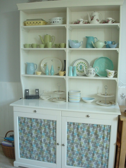 white china cabinet + vintage dishes