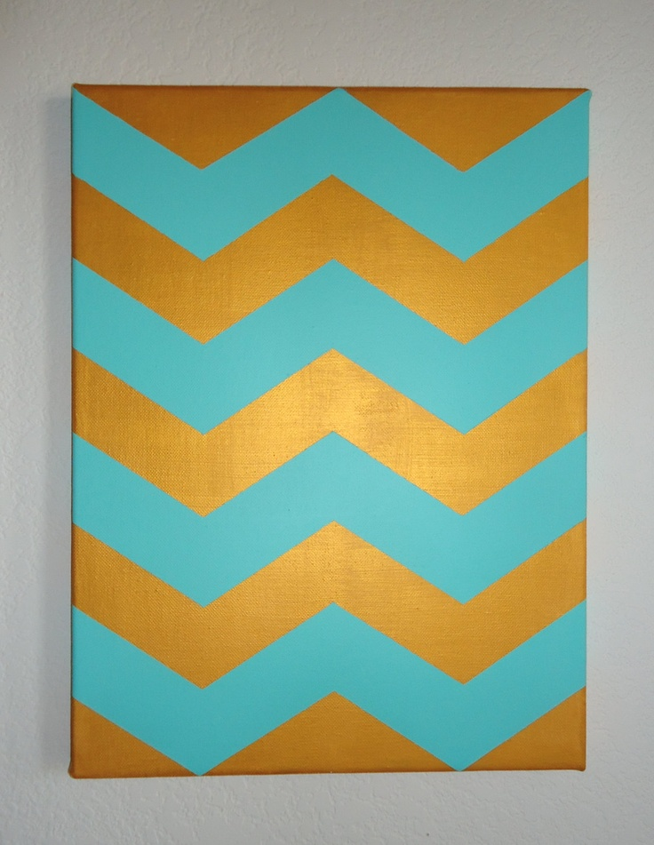 12x16 Teal And Gold Chevron Stripe Acrylic Painting On
