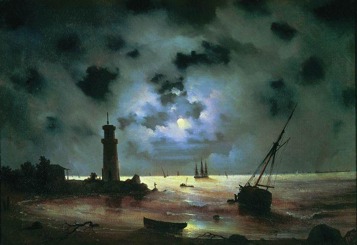 Айвазовский. Берег моря ночью. У маяка. 1837