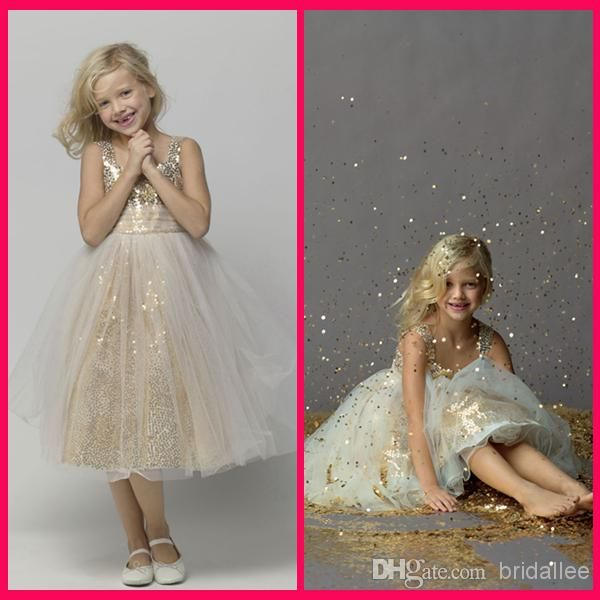 Give your little girl the  grace scoop a line girl's pageant dresses gold sequins a line junior bridesmaid dress in bridallee as a good gift and have her shine like a bright star with little girl beauty pageant dresses,little girls pageant gownsand little girls short pageant dresses.