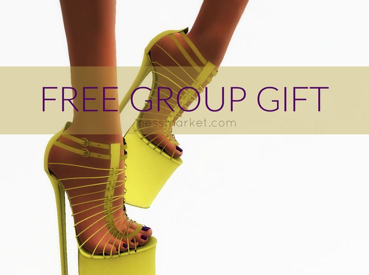 Second Life Freebies Ella Shoes. The Ella shoes in yellow are a free group gift. They are compatible with slink high feet. Activate your Third Life group