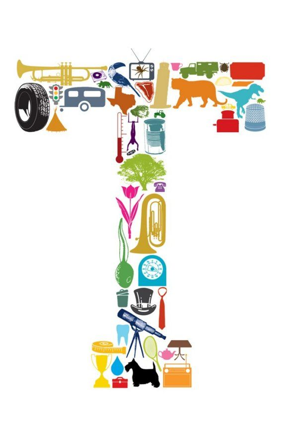 The letter T made of items that begin with the letter T.