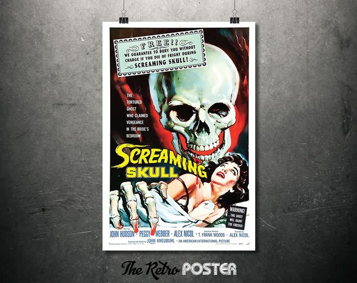 Screaming Skull Movie Poster - 1950s, Horror Movie, Cinema, Movie Poster, Film Poster, Film Prints, Old Movie Posters, Ghost Movies, Movies by TheRetroPoster on Etsy