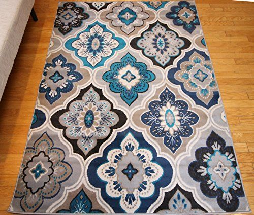 Generations New Contemporary Panal and Diamonds Beige Navy Coral Blue Grey Modern Area Rug Rugs 7'10 x 10'5